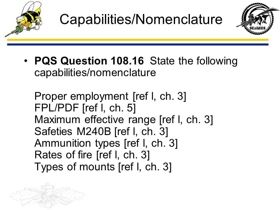 Capabilities/Nomenclature