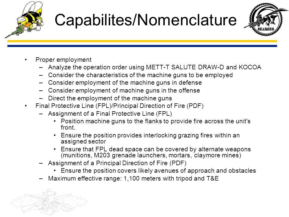 Capabilites/Nomenclature