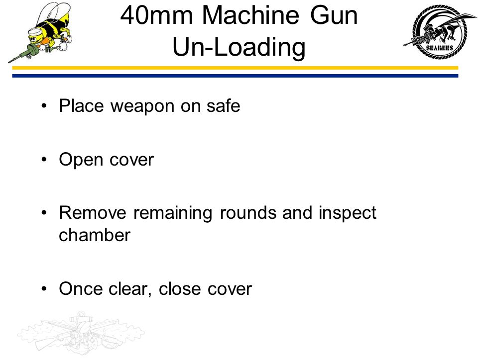 40mm Machine Gun Un-Loading