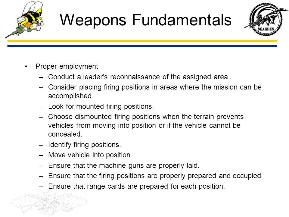 Weapons Fundamentals Proper employment
