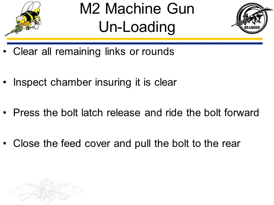 M2 Machine Gun Un-Loading