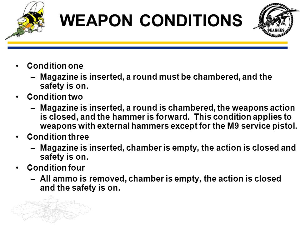 WEAPON CONDITIONS Condition one