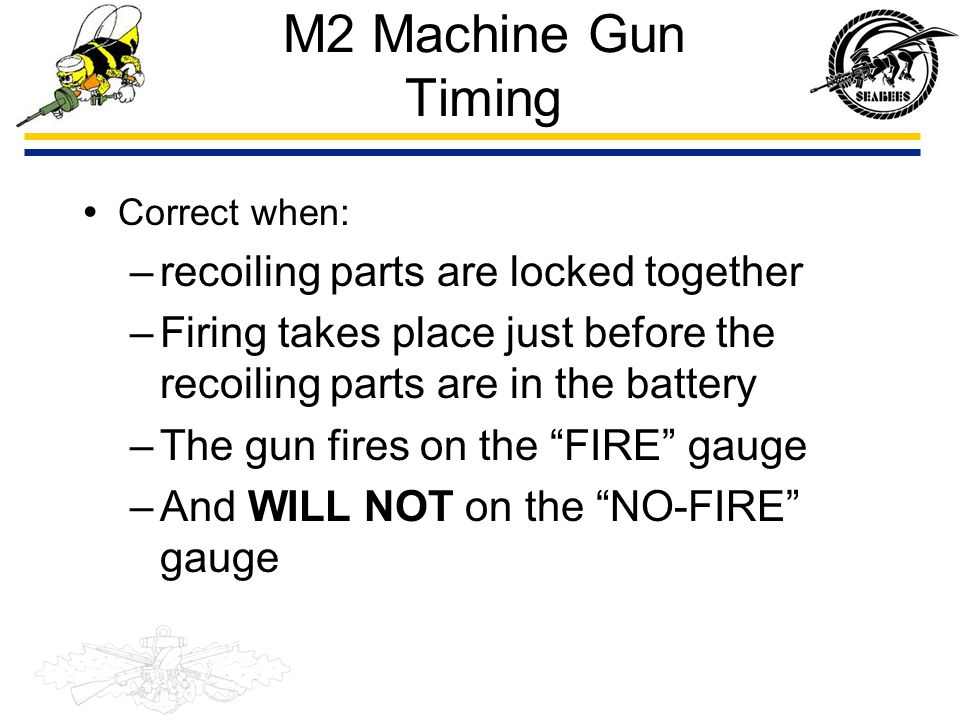 M2 Machine Gun Timing recoiling parts are locked together