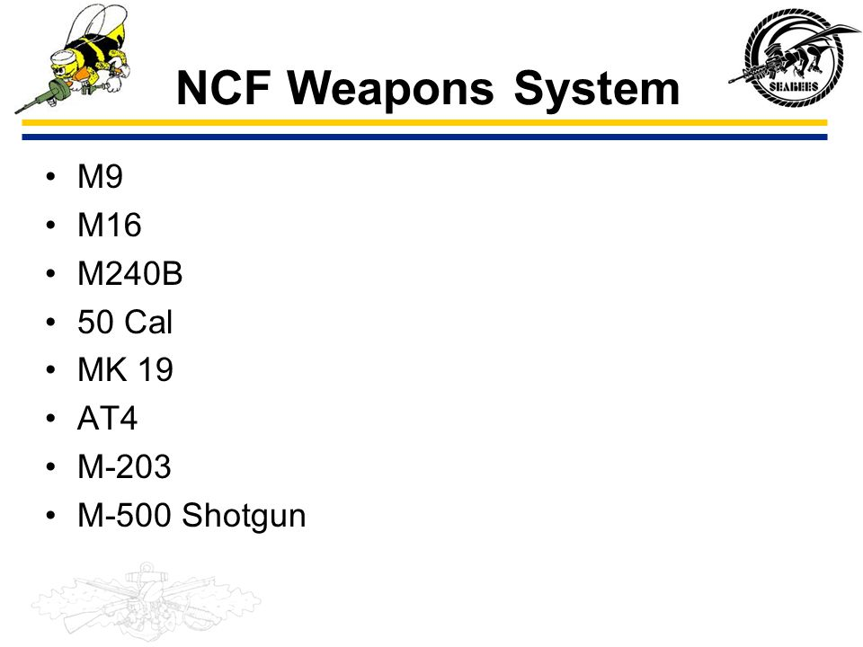 NCF Weapons System M9 M16 M240B 50 Cal MK 19 AT4 M-203 M-500 Shotgun