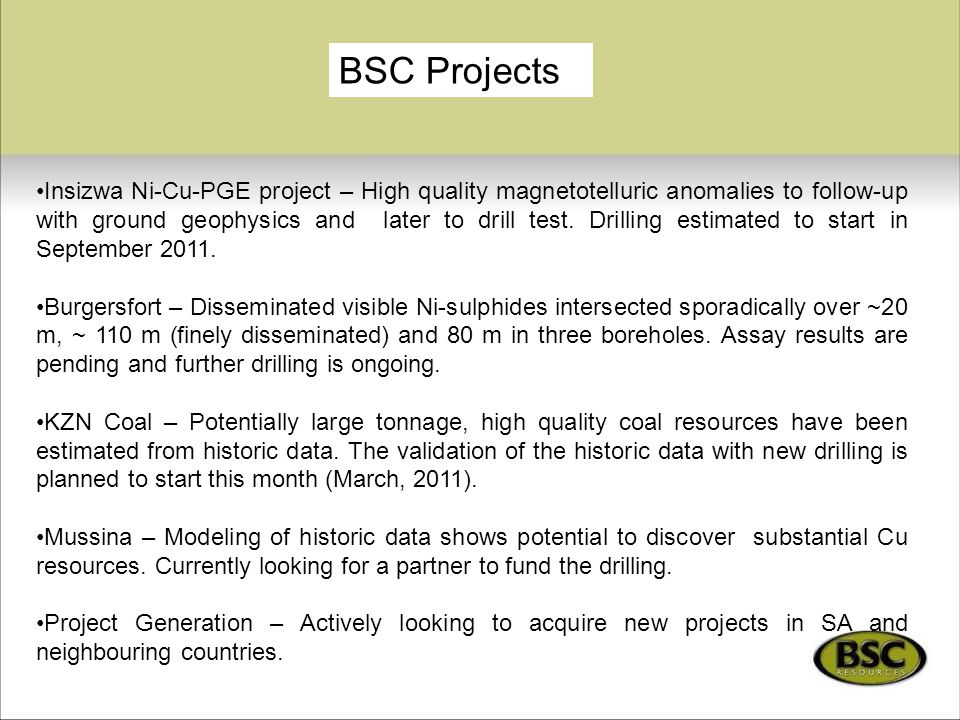 BSC Projects
