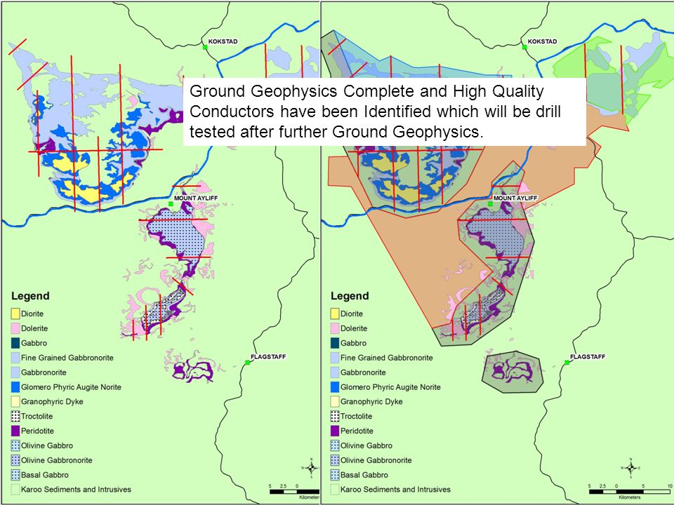 Ground Geophysics Complete and High Quality Conductors have been Identified which will be drill tested after further Ground Geophysics.