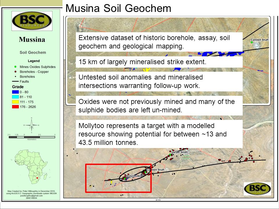 Musina Soil Geochem Extensive dataset of historic borehole, assay, soil geochem and geological mapping.