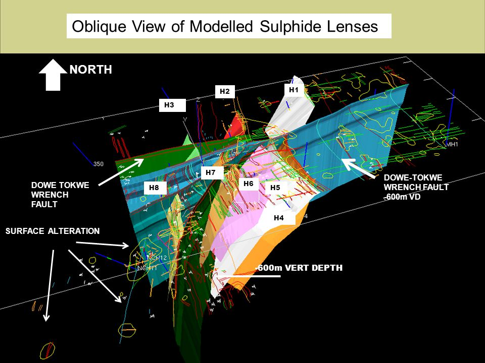 Oblique View of Modelled Sulphide Lenses