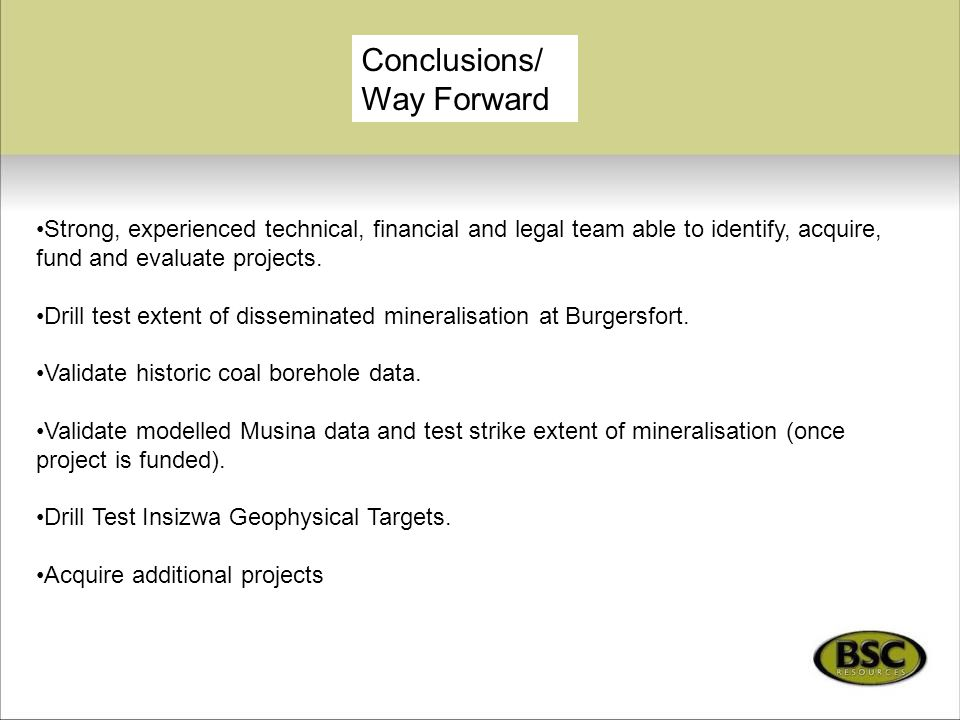 Conclusions/Way Forward