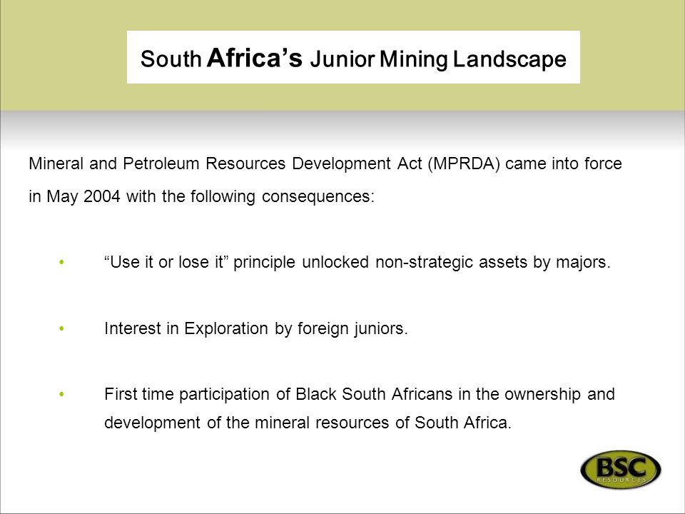 South Africa's Junior Mining Landscape