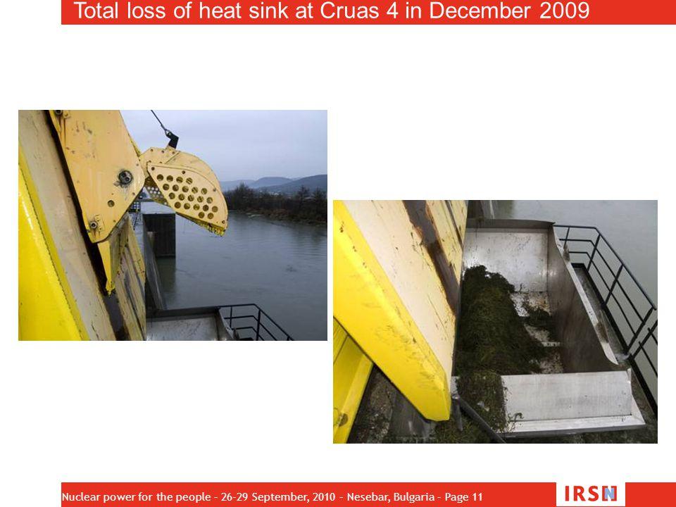 Total loss of heat sink at Cruas 4 in December 2009