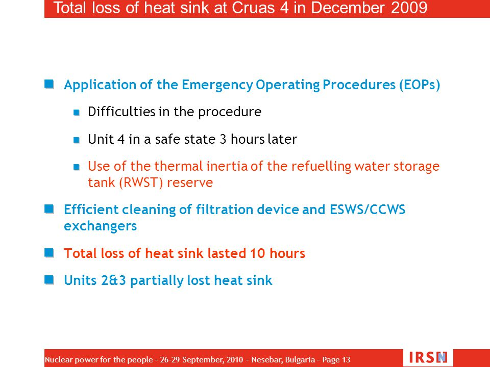 Total loss of heat sink at Cruas 4 in December 2009