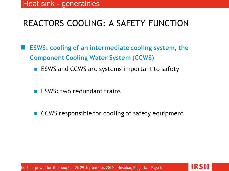 REACTORS COOLING: A SAFETY FUNCTION