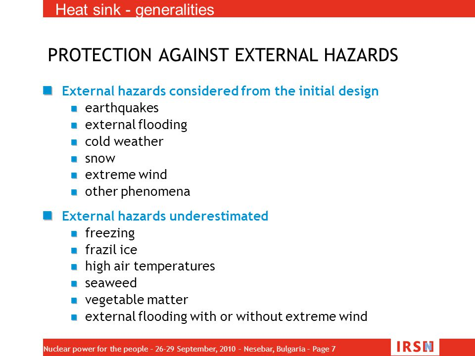 PROTECTION AGAINST EXTERNAL HAZARDS
