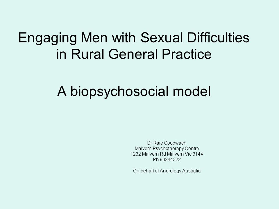 Engaging Men with Sexual Difficulties in Rural General Practice A biopsychosocial model
