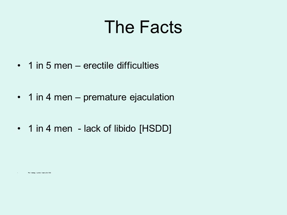 The Facts 1 in 5 men – erectile difficulties