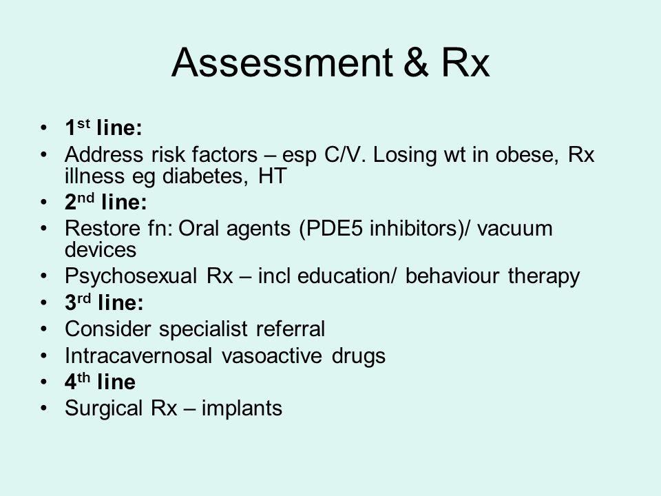 Assessment & Rx 1st line: