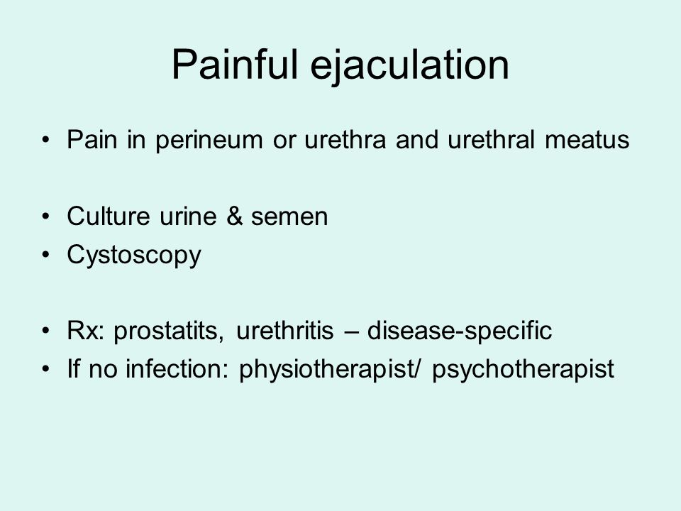 Painful ejaculation Pain in perineum or urethra and urethral meatus
