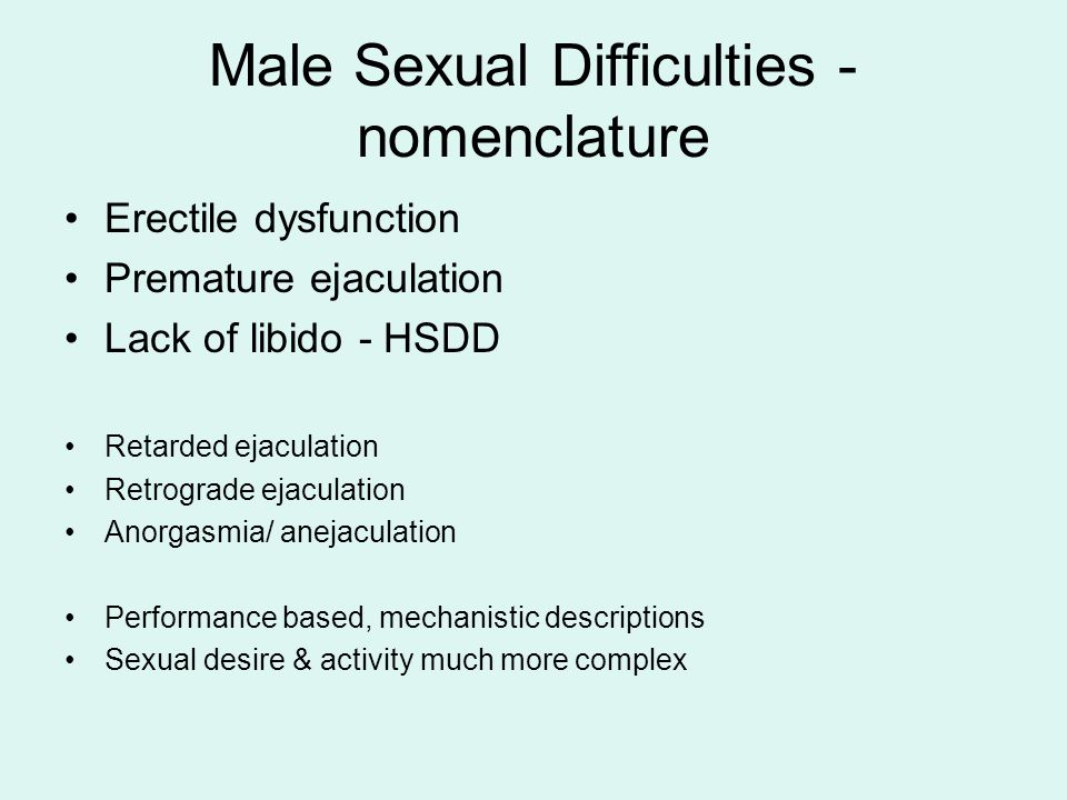 Male Sexual Difficulties - nomenclature