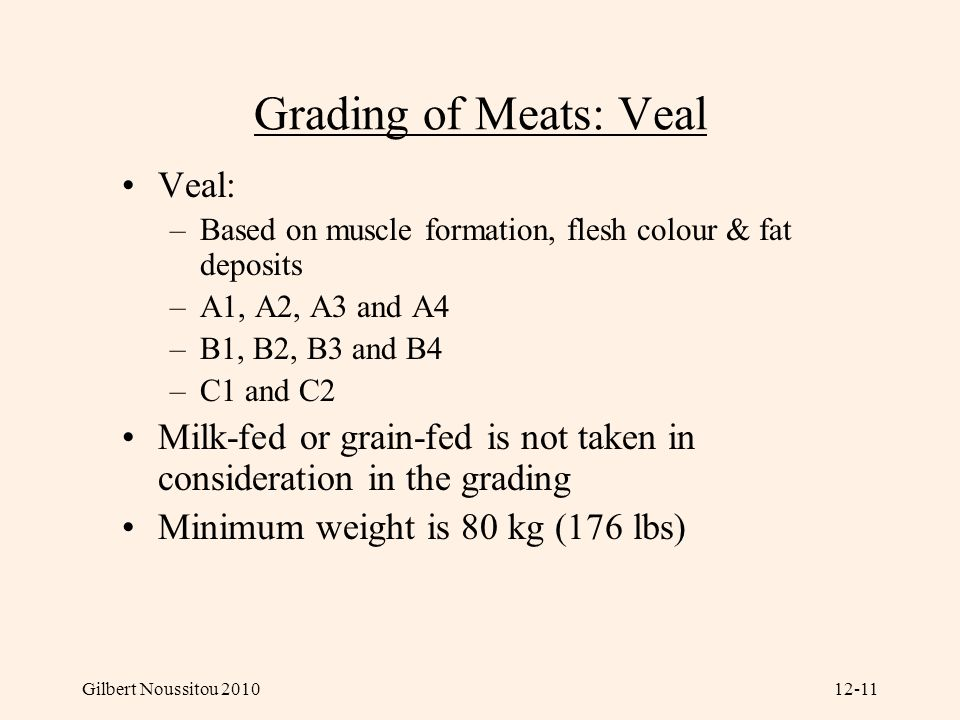 Grading of Meats: Veal Veal: