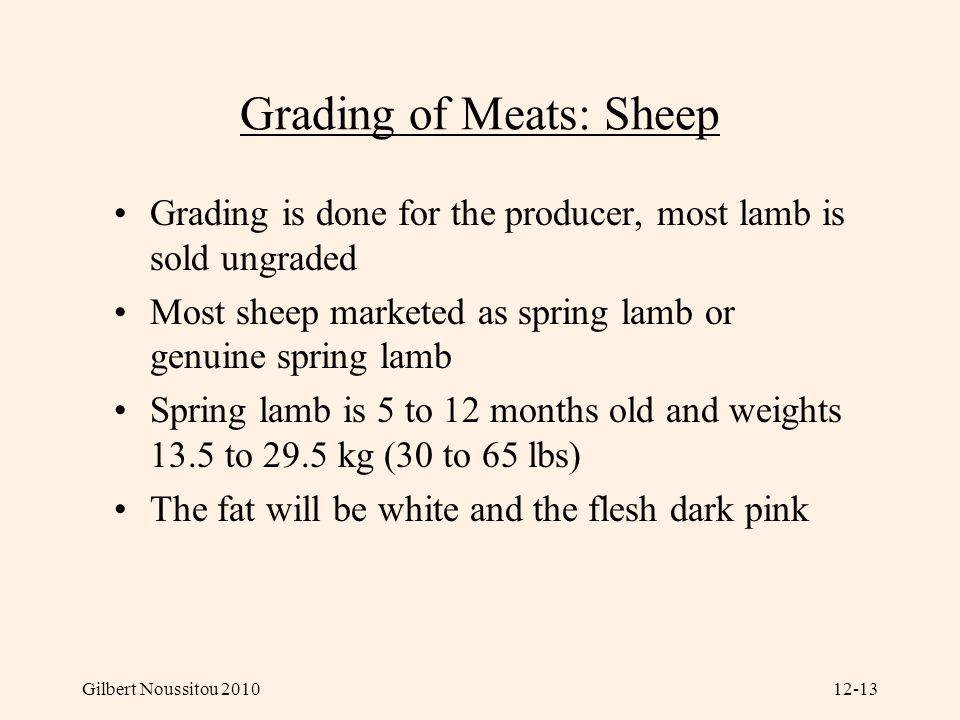Grading of Meats: Sheep