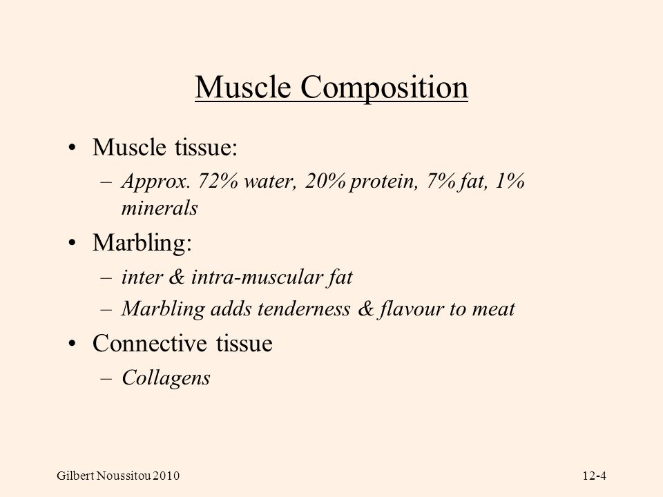 Muscle Composition Muscle tissue: Marbling: Connective tissue