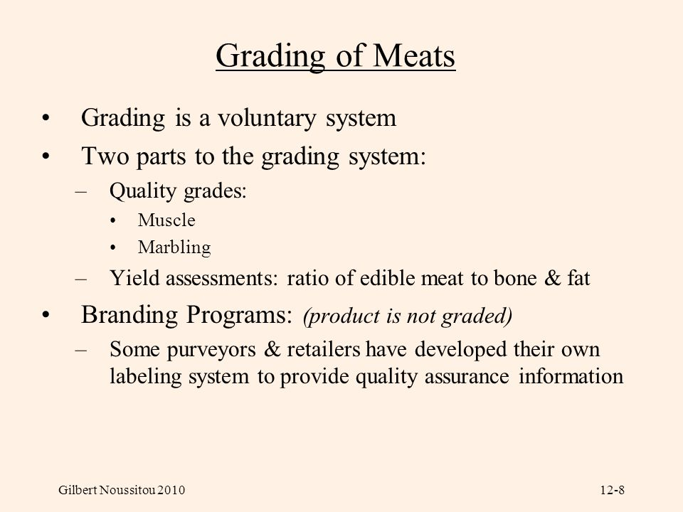 Grading of Meats Grading is a voluntary system