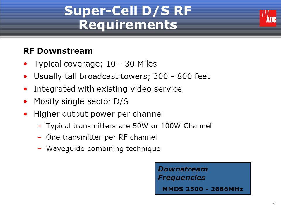 Super-Cell D/S RF Requirements