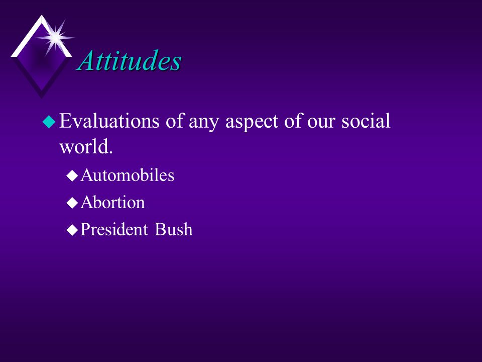 Attitudes Evaluations of any aspect of our social world. Automobiles