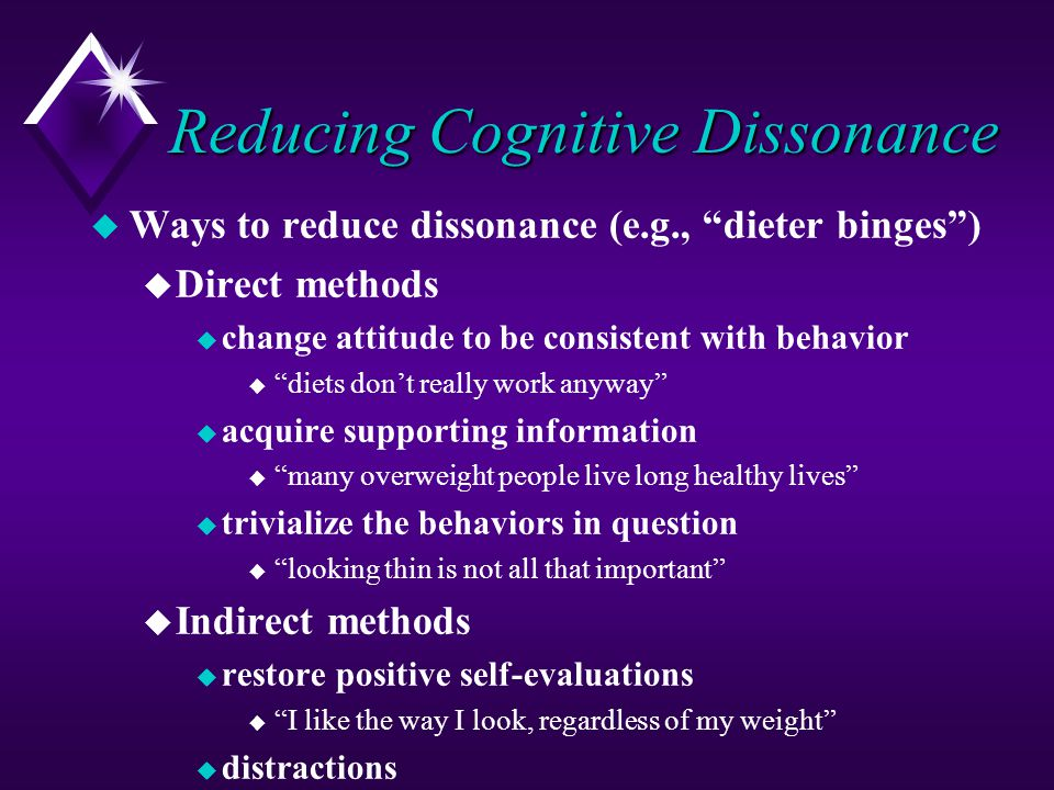 Reducing Cognitive Dissonance