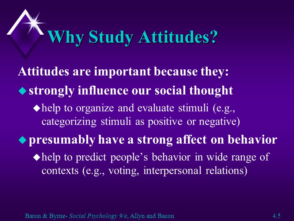 Why Study Attitudes Attitudes are important because they: