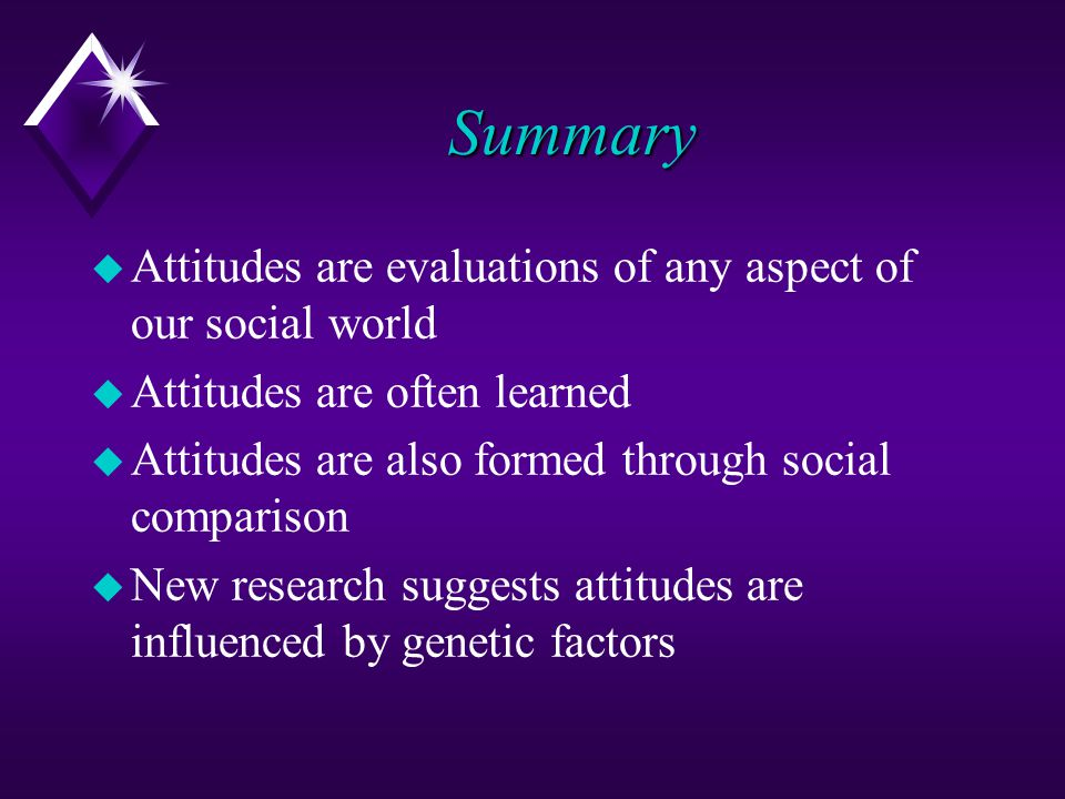 Summary Attitudes are evaluations of any aspect of our social world