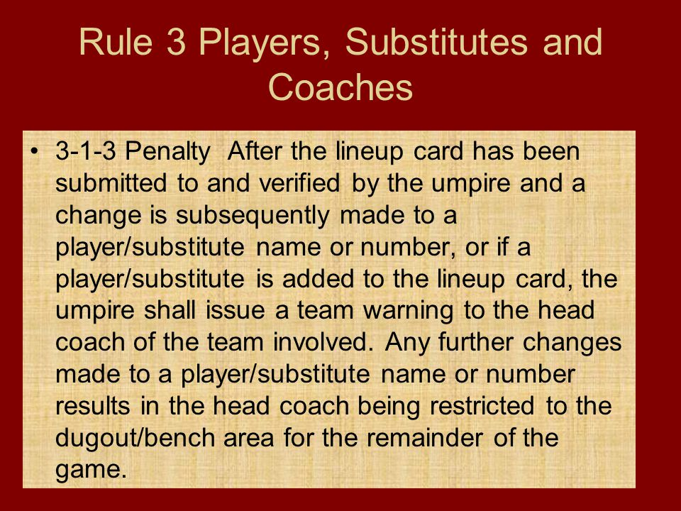 Rule 3 Players, Substitutes and Coaches
