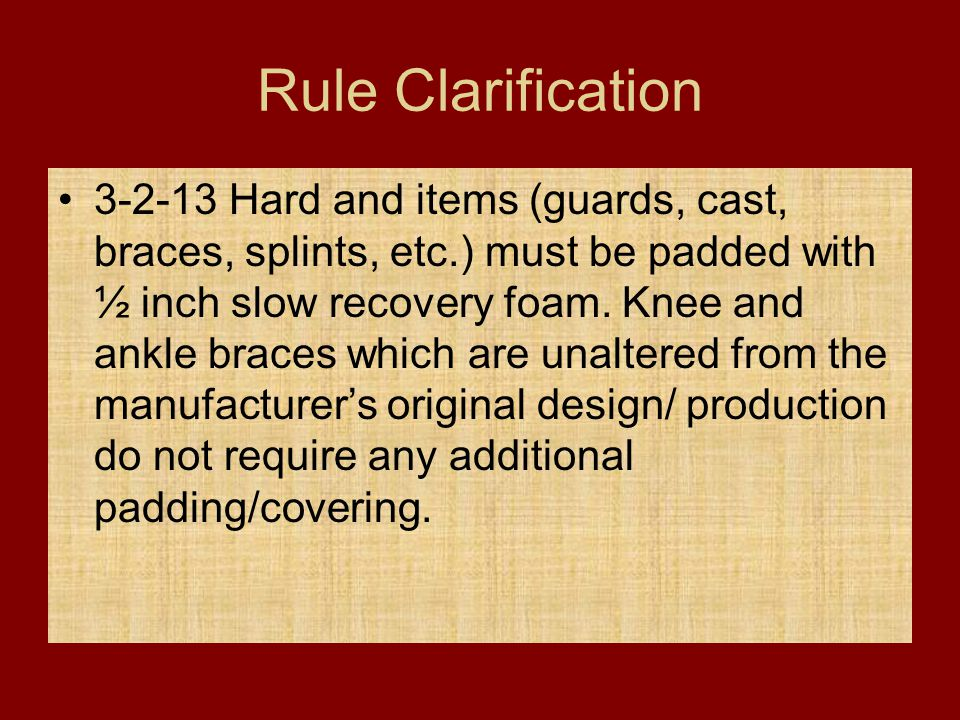 Rule Clarification