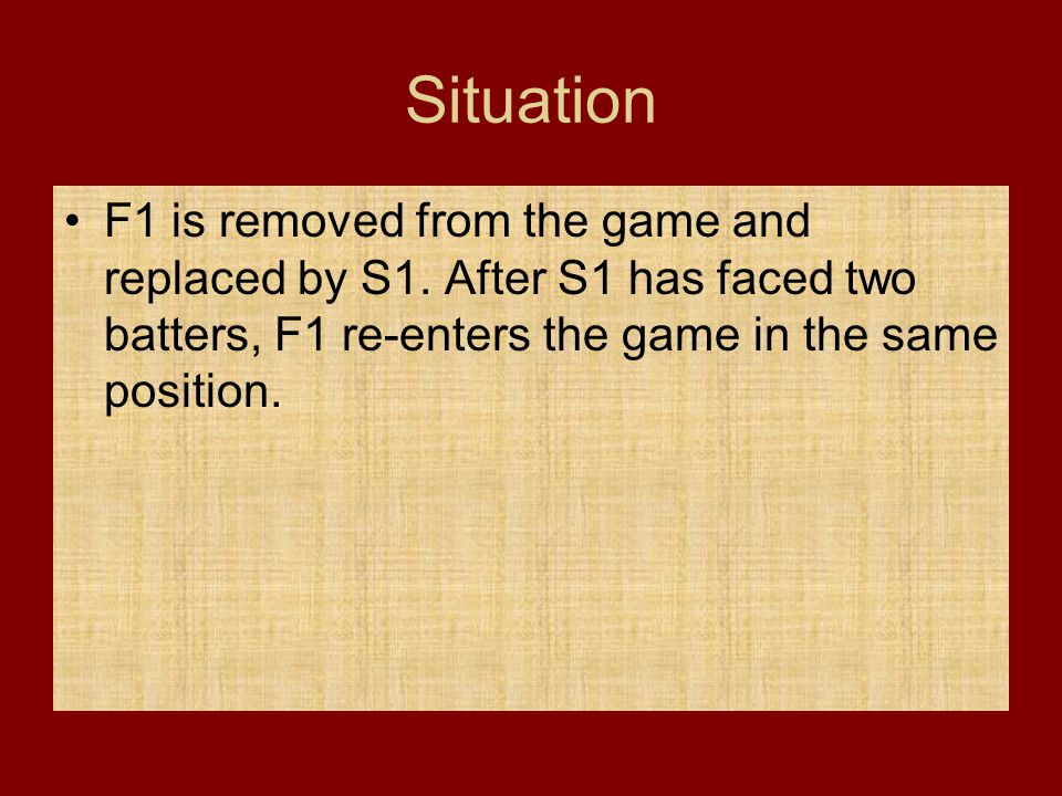 Situation F1 is removed from the game and replaced by S1.