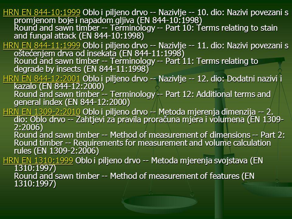 HRN EN 844-10:1999 Oblo i piljeno drvo -- Nazivlje -- 10