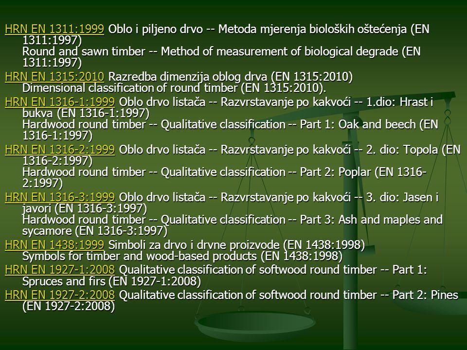 HRN EN 1311:1999 Oblo i piljeno drvo -- Metoda mjerenja bioloških oštećenja (EN 1311:1997) Round and sawn timber -- Method of measurement of biological degrade (EN 1311:1997)