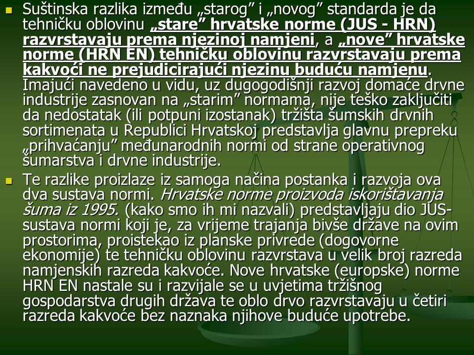 """Suštinska razlika između """"starog i """"novog standarda je da tehničku oblovinu """"stare hrvatske norme (JUS - HRN) razvrstavaju prema njezinoj namjeni, a """"nove hrvatske norme (HRN EN) tehničku oblovinu razvrstavaju prema kakvoći ne prejudicirajući njezinu buduću namjenu. Imajući navedeno u vidu, uz dugogodišnji razvoj domaće drvne industrije zasnovan na """"starim normama, nije teško zaključiti da nedostatak (ili potpuni izostanak) tržišta šumskih drvnih sortimenata u Republici Hrvatskoj predstavlja glavnu prepreku """"prihvaćanju međunarodnih normi od strane operativnog šumarstva i drvne industrije."""