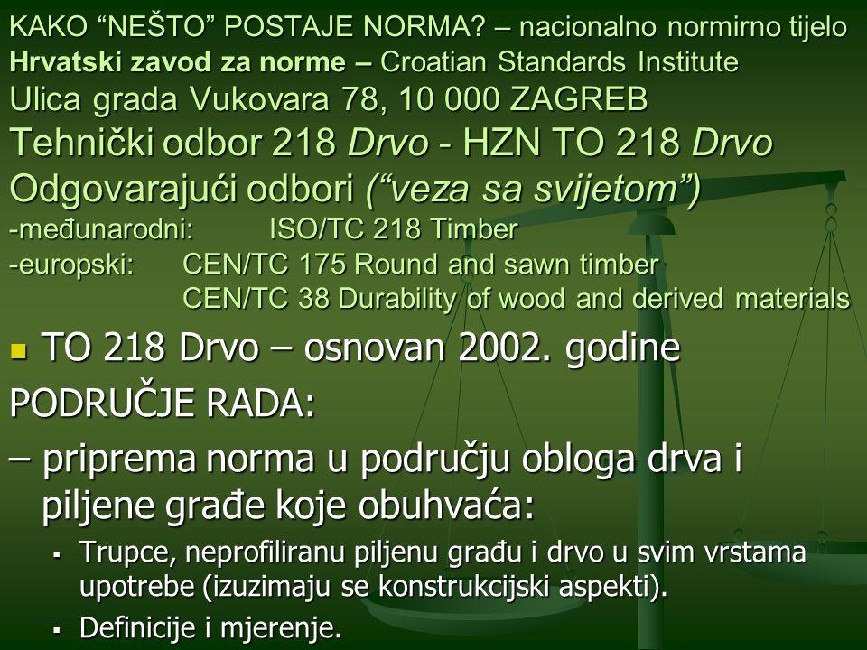 TO 218 Drvo – osnovan 2002. godine PODRUČJE RADA: