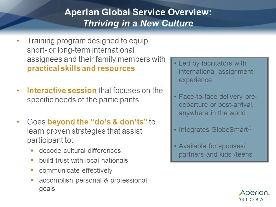 Aperian Global Service Overview: Thriving in a New Culture