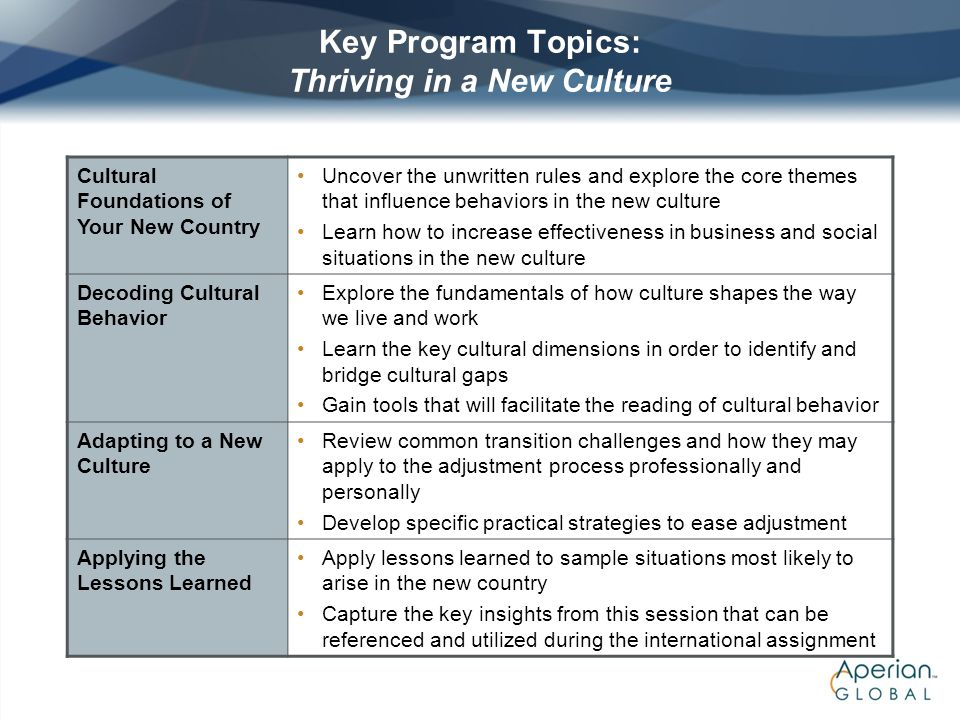 Key Program Topics: Thriving in a New Culture