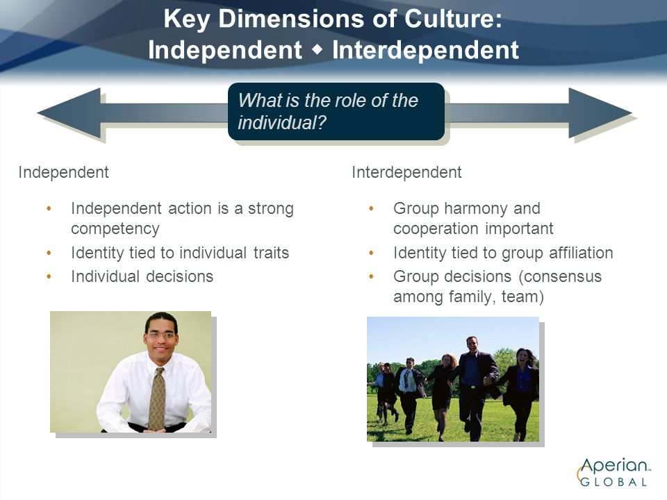 Key Dimensions of Culture: Independent  Interdependent