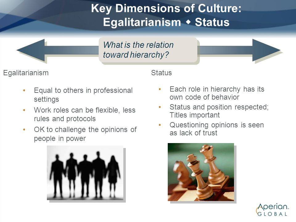Key Dimensions of Culture: Egalitarianism  Status