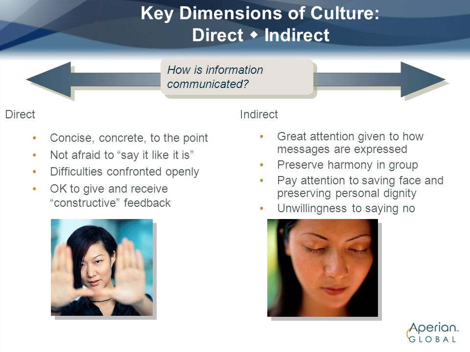 Key Dimensions of Culture: Direct  Indirect