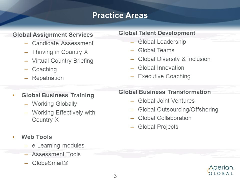 Practice Areas Global Talent Development Global Assignment Services