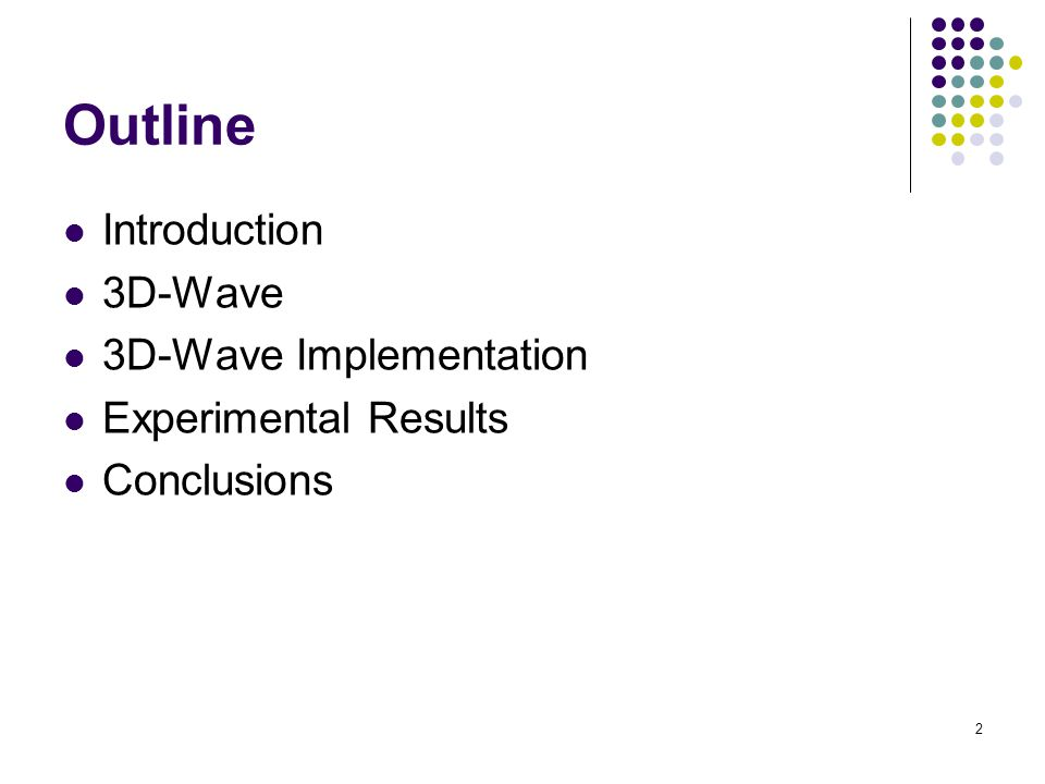 Outline Introduction 3D-Wave 3D-Wave Implementation