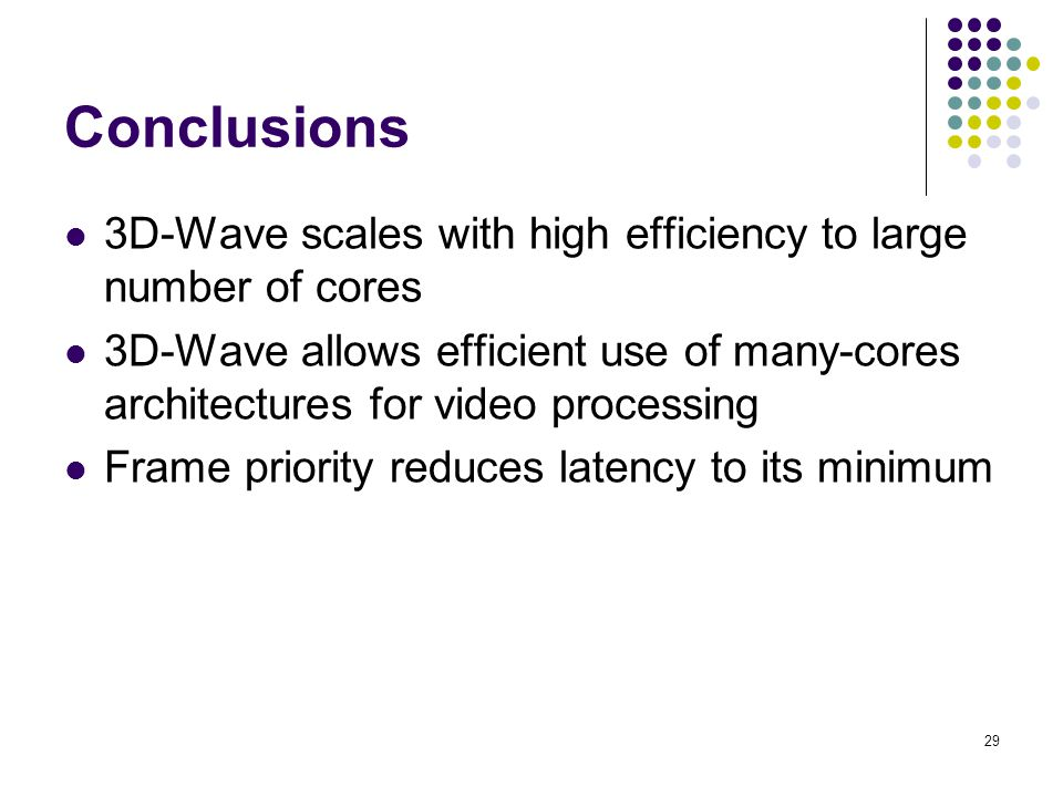 Conclusions 3D-Wave scales with high efficiency to large number of cores.