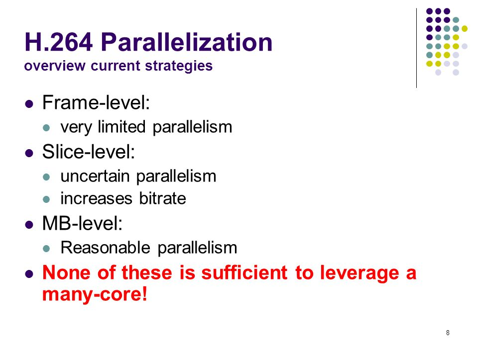 H.264 Parallelization overview current strategies