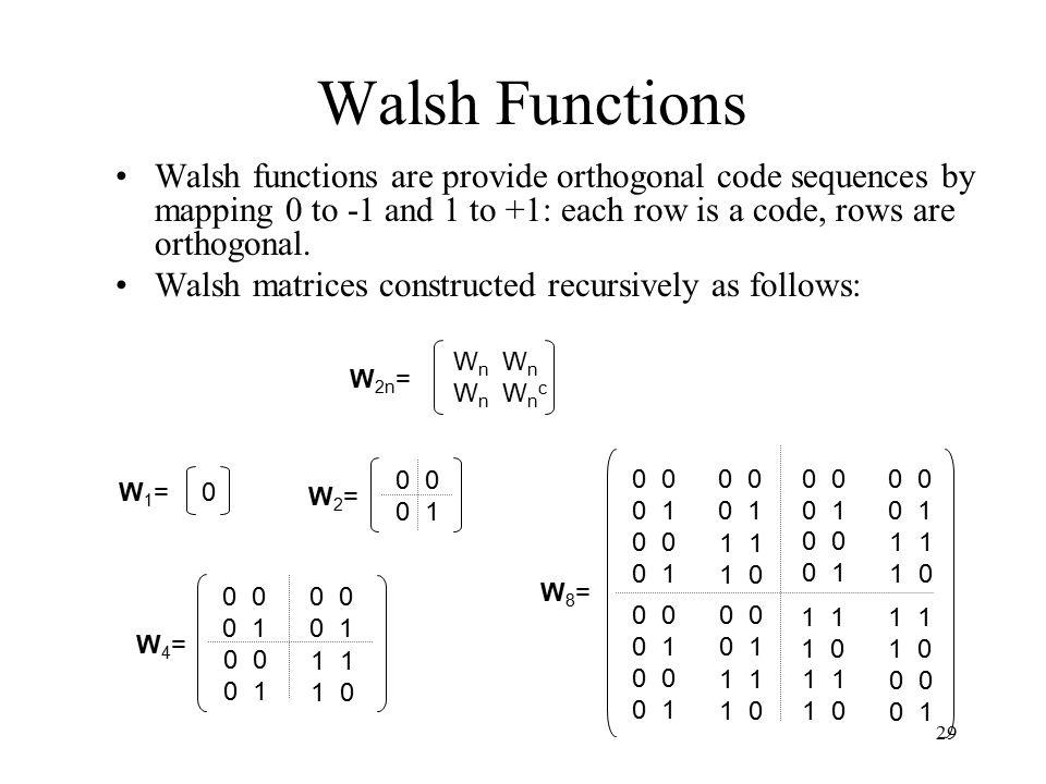 Walsh Functions Walsh functions are provide orthogonal code sequences by mapping 0 to -1 and 1 to +1: each row is a code, rows are orthogonal.