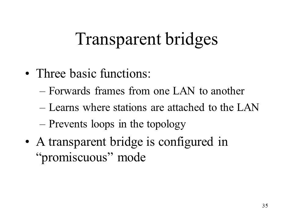 Transparent bridges Three basic functions: